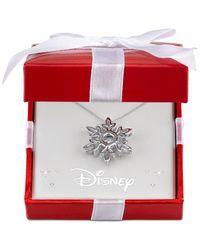 Macy's   Metallic Clear Stone Frozen Snowflake Pendant Necklace In Sterling Silver   Lyst
