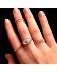 Anne Sisteron | Pink 14kt Rose Gold White Mother Of Pearl Diamond Evil Eye Ring | Lyst