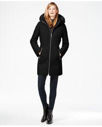 Calvin Klein | Black Faux-fur-trim Mixed-media Walker Coat | Lyst