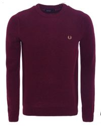Fred Perry Red Herringbone Knit Wool Jumper for men