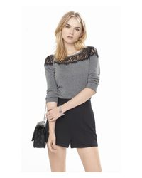 Express | Gray Lace Yoke Bateau Neck Sweater | Lyst