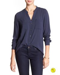 Banana Republic - Blue Factory Banded-collar Blouse - Lyst