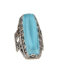 Konstantino - Blue Faceted Turquoise & Rock Crystal Doublet Ring - Lyst