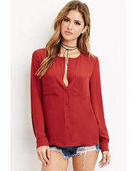 Forever 21 - Red Two-pocket Collarless Blouse - Lyst