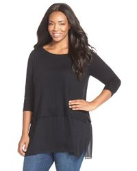 Eileen Fisher | Black Silk and Cashmere Top | Lyst