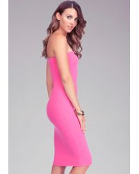 Bebe - Pink Strapless Solid Midi Dress Online Exclusive - Lyst