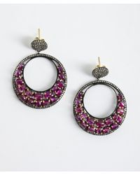 Amrapali - 'Colored Stone Collection' Diamond & Ruby Hoop Earrings - Lyst