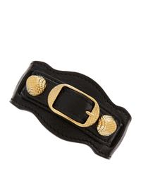 Balenciaga - Black Giant 12 Yellow Golden Leather Single Strap Bracelet - Lyst