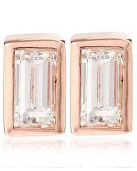 Kismet by Milka - Pink Rose Gold Baguette Diamond Stud Earrings - Lyst