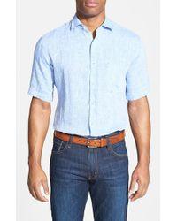 Peter Millar - Blue Regular Fit Short Sleeve Linen Sport Shirt for Men - Lyst