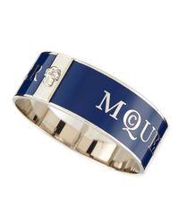 Alexander McQueen - Blue Medium 3d Enamel Logo & Skull Cuff - Lyst