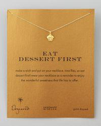 Dogeared | Metallic Eat Dessert First Cupcake Charm Necklace | Lyst