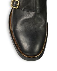 Alexander McQueen - Black Three-Buckle Leather Ankle Boots for Men - Lyst