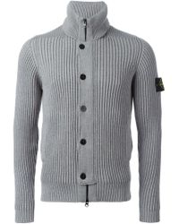 Stone Island - Gray Ribbed Zip Cardigan for Men - Lyst