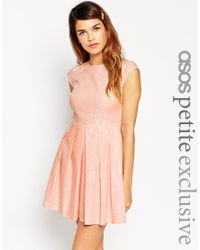 ASOS - Pink Dress In Chambray Linen With Short Sleeves - Coral - Lyst