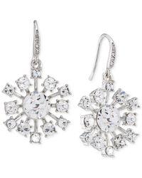 Carolee | Metallic Silver-tone Crystal Starburst Drop Earrings | Lyst