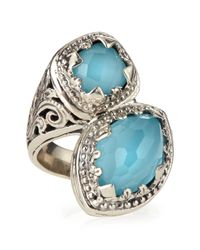 Konstantino - Blue Turquoise & Rock Crystal Doublet Bypass Ring - Lyst