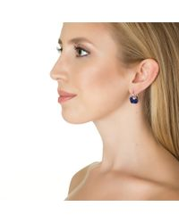 Kenneth Jay Lane   Blue Sapphire Cushion Cut Earrings   Lyst