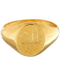 Alex Monroe | Metallic Gold-plated Not All Wander Lost Ring | Lyst