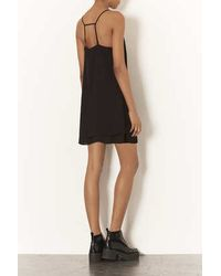 TOPSHOP - Black Petite Strap Back Slip Dress - Lyst