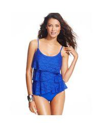 Jones New York | Blue Tiered Crochet Onepiece Swimsuit | Lyst