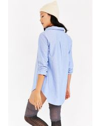 BDG | Blue Popover Oxford Tunic Top | Lyst