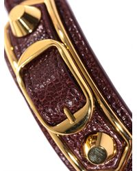 Balenciaga - Red Studded Leather Wraparound Bracelet - Lyst