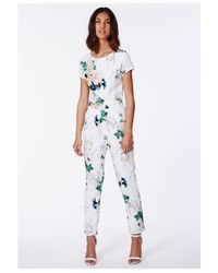 Missguided | Multicolor Delia Floral Tailored Jumpsuit White | Lyst