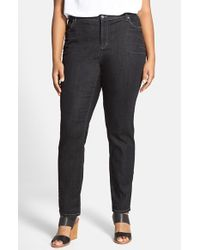 Eileen Fisher | Black Soft Stretch Denim Skinny Jeans | Lyst
