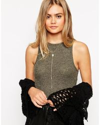ASOS | Metallic Triangle Feather Lariat Necklace | Lyst