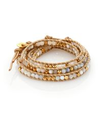 Chan Luu | Metallic Mother-Of-Pearl, White Opal & Leather Beaded Multi-Row Wrap Bracelet | Lyst