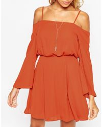 ASOS - Red Cold Shoulder Skater Dress - Lyst