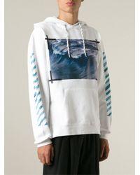 Off-White c/o Virgil Abloh - White Wave Print Sweatshirt for Men - Lyst