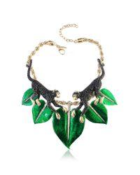 Roberto Cavalli - Green Animal Kingdom Golden And Enamel Choker W/Crystals - Lyst