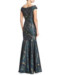 David Meister - Blue Cap-sleeve Brocade Mermaid Gown - Lyst