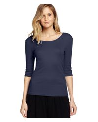 Michael Stars | Blue Shine Elbow Sleeve Twist Back Top | Lyst