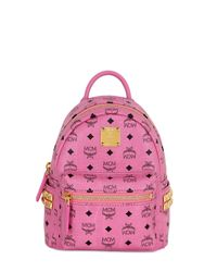MCM | Pink Extra Mini Stark Coated Canvas Backpack | Lyst
