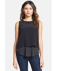 Eileen Fisher | Black Button Back Silk Crop Shell | Lyst