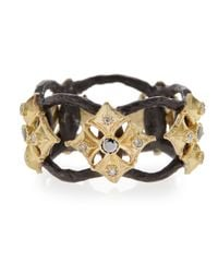 Armenta | Metallic White  Black Diamond Maltese Cross Open Ring | Lyst