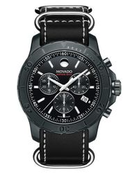 Movado | Black 'series 800' Chronograph Leather Strap Watch for Men | Lyst