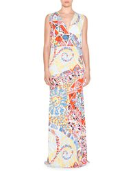 Emilio Pucci - Multicolor Sleeveless Mosaic-print Maxi Dress - Lyst