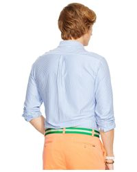 Polo Ralph Lauren | Blue Striped Cotton Interlock Mercer Shirt for Men | Lyst