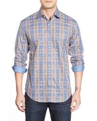 Bugatchi | Brown Shaped Fit Plaid Sport Shirt for Men | Lyst