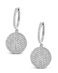 KC Designs | White 14k Gold And Diamond Pave Disc Earrings | Lyst
