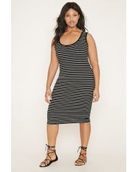 c05e160bcfb89 Lyst - Forever 21 Plus Size Striped Dress in Black