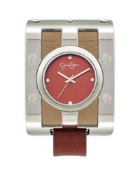 Jessica Simpson | Womens Red Leather Strap Watch 65x48mm Js036b | Lyst