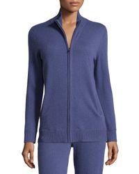 Neiman Marcus - Blue Basic Zip-up Cashmere Jacket - Lyst