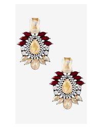 Express - Multicolor Mixed Rhinestone Post Drop Earrings - Lyst
