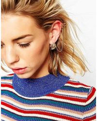 ASOS - Pink Leaf Detail Ear Cuff And Crawler - Lyst