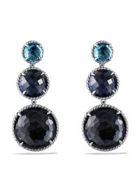 David Yurman | Metallic Chatelaine Triple-drop Earrings With Black Orchid & Indian Blue Sapphire | Lyst